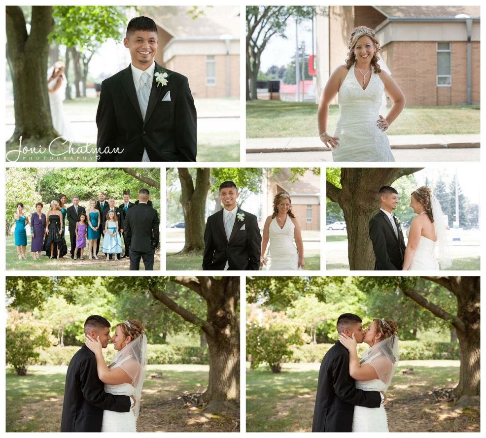 groom looking at bridal party while bride comes from behind capture