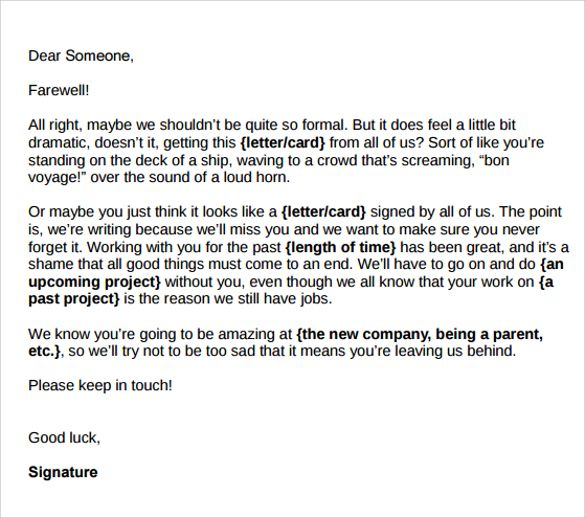 sample farewell letters coworkers documents word pdf how write email