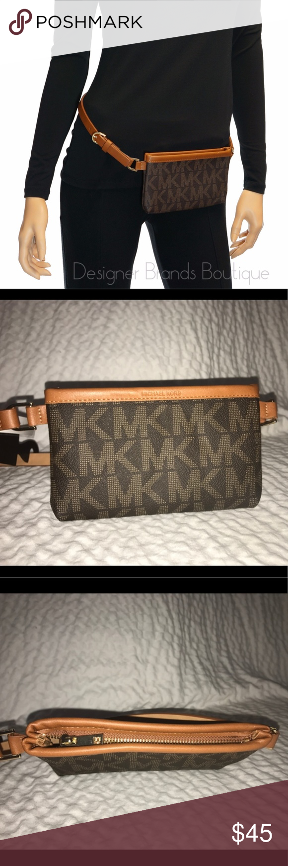 3bc46c6b4b985 Michael Kors MK Belt with wallet Fanny Pack Brand New With Tags Originally   68 Brown Signature MK logo Approximate Belt width  0.25 .