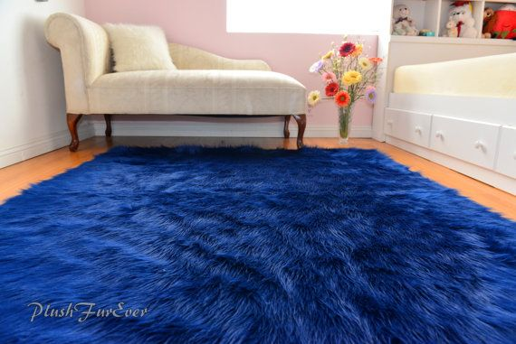 Navy Blue Rich Luxurious Shaggy Rectangle Area Rug Nonslip Suede Backing  Faux Fur Shaggy Long Plush Acrylics Polyester Fur Made In USA NEW