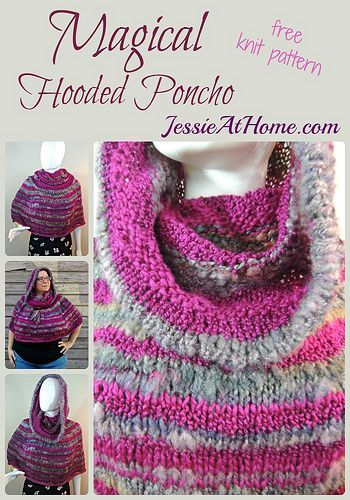 Magical Hooded Poncho - free knit pattern by Jessie At Home ...