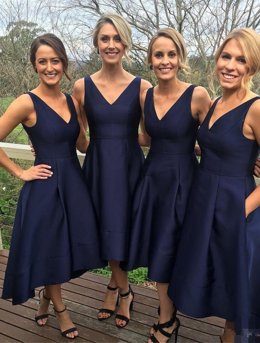 V neck high low navy blue bridesmaid dress dresses love