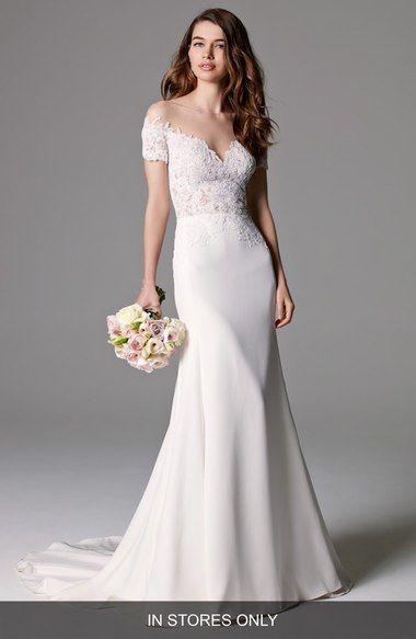 Seaton Illusion Off-the-Shoulder Lace & Georgette Trumpet Gown ...