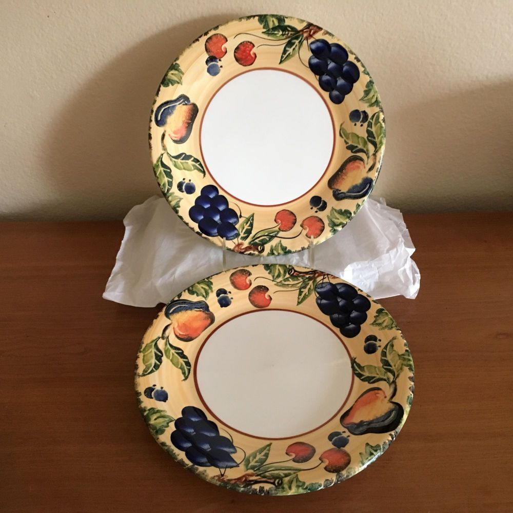 Two (2) Dansk Fall Harvest Salad/Lunch Plates Made in Italy 9 3/4 ...
