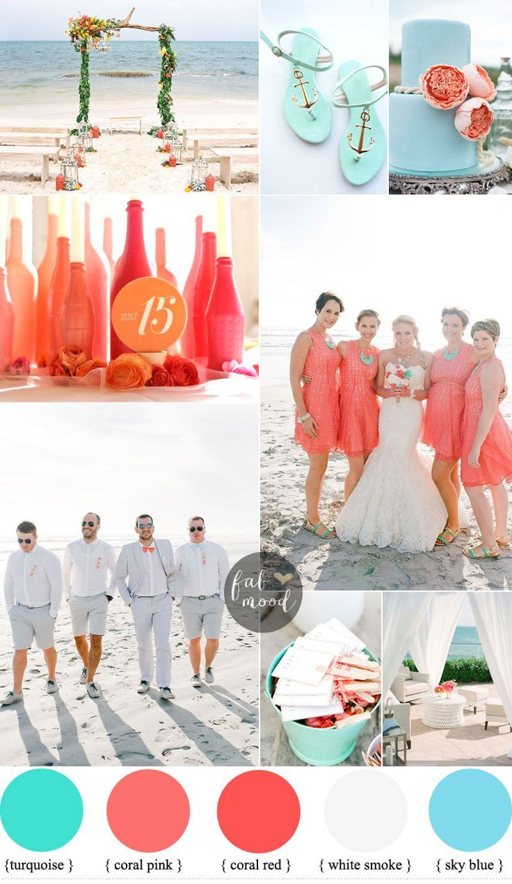 Inspirational beach wedding ideas shades of coral turquoise