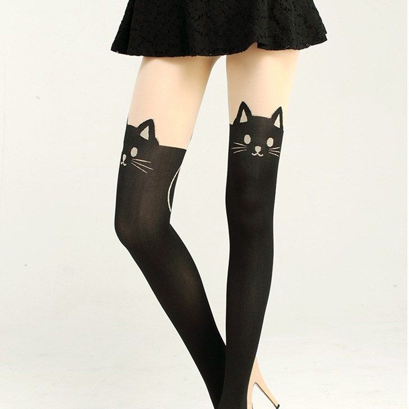 7a0024b18639 Black Cat Printed Stockings | Shop Product | Jazz the Cat Black cat printed  stockings for the sexy cat lady!Perfect gift for black cat lovers.