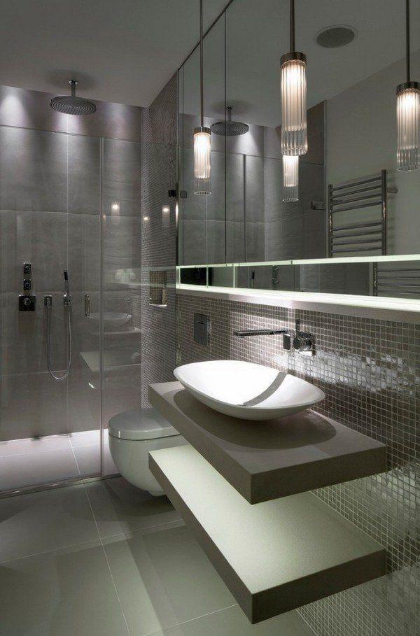 Contemporary Bathroom Design Gray Tiles Modern Lighting Bowl Sink