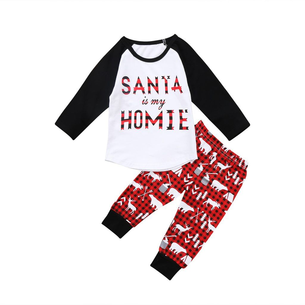 Santa is my homie print christmas toddler boy girl checked outfit