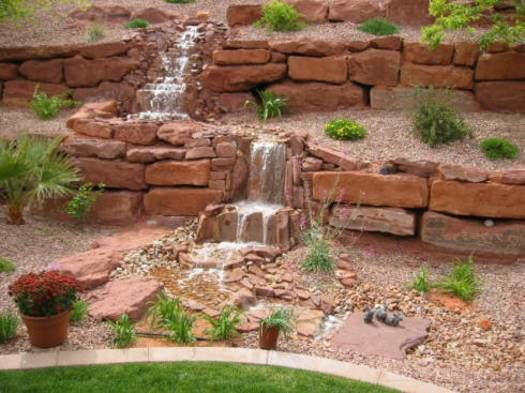 backyard and front yard landscaping with natural waterfall - Waterfall Landscape Design Ideas