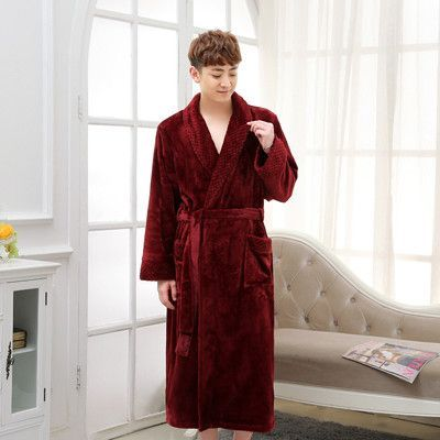 3fc7768513 On Sale Super Soft Extra Long Men Women Warm Coral Flannel Bath Robe Mens  Kimono Bathrobe Male Dressing Gown Lovers Winter Robes