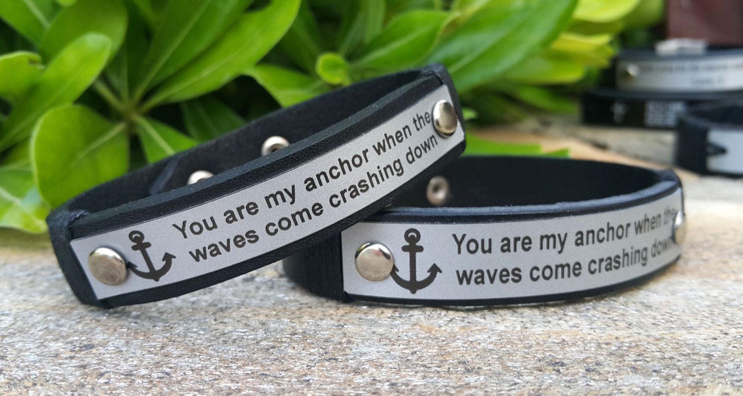 Personalized Mens Leather Anchor Engraved Custom Quote Design Bracelet Womens Unique Anniversary Birthday Gift Ideas
