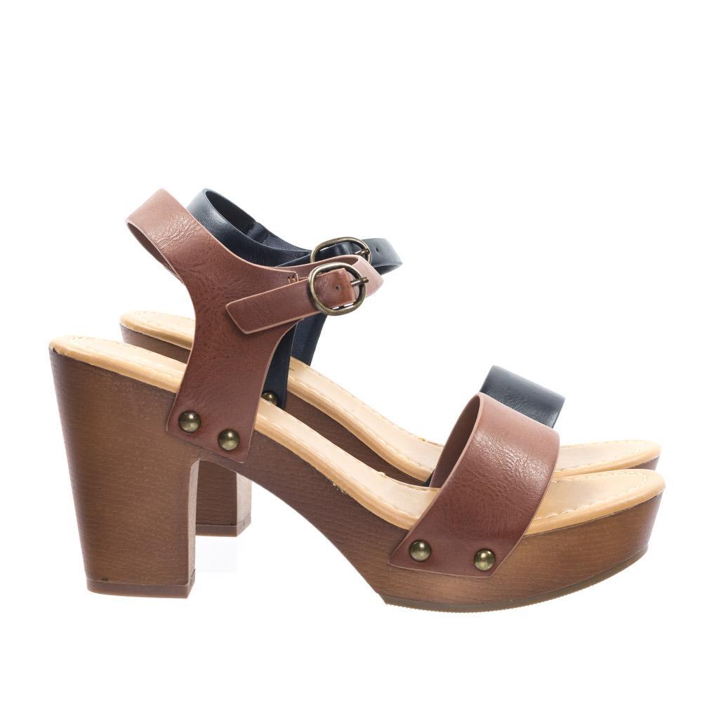 a3b6dfe223b Chivas by Soda Retro Metal Stud Detail Faux Wooden Block Heel ...