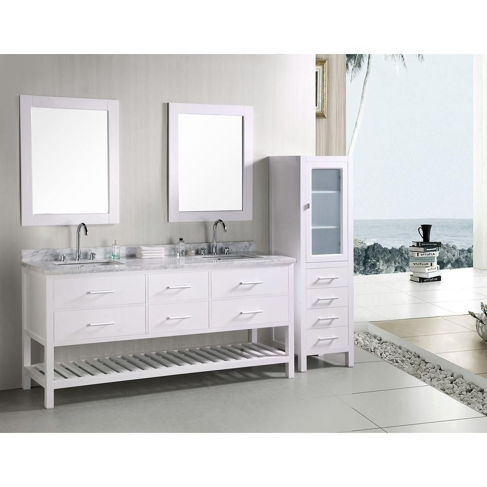 Design Element London 72 In W X 22 In D Vanity In Pearl White With