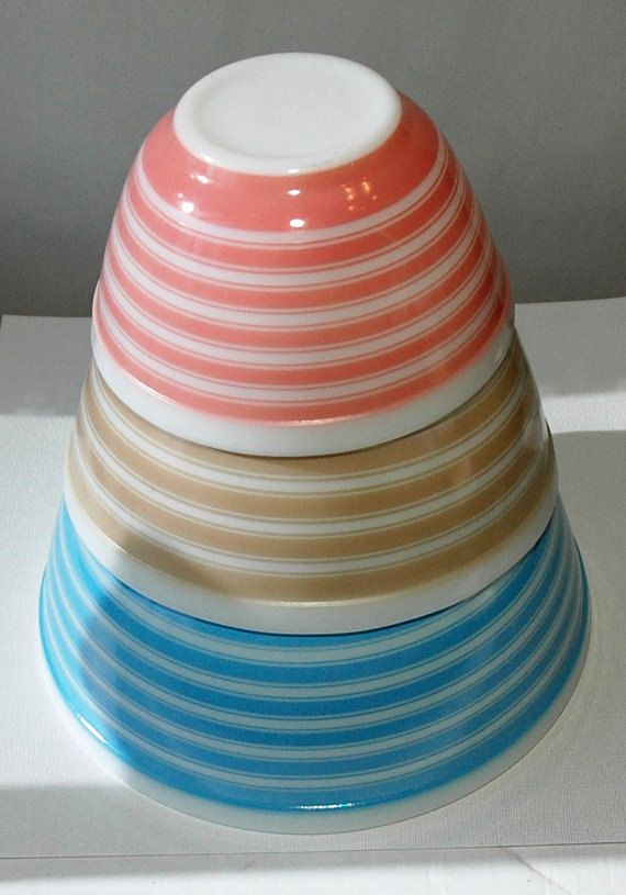 Pyrex Striped Nesting Bowl set by SheliasGlassShop on Etsy