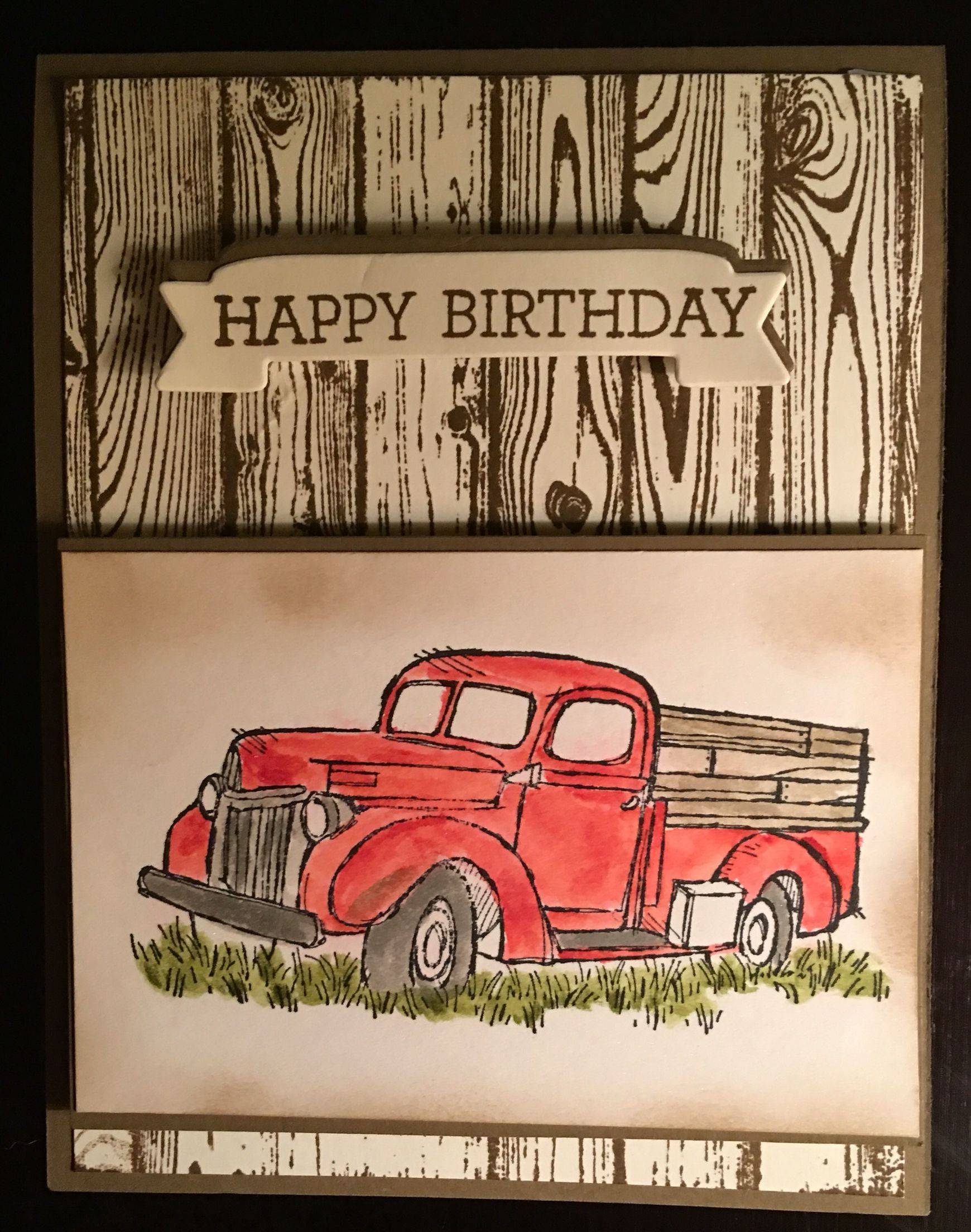 Masculine Birthday Card Using The Truck From The Livin Country Stamp Set In The 2016 2017 All Occ Carte Scrapbooking Cartes Masculines Carte Anniversaire Homme