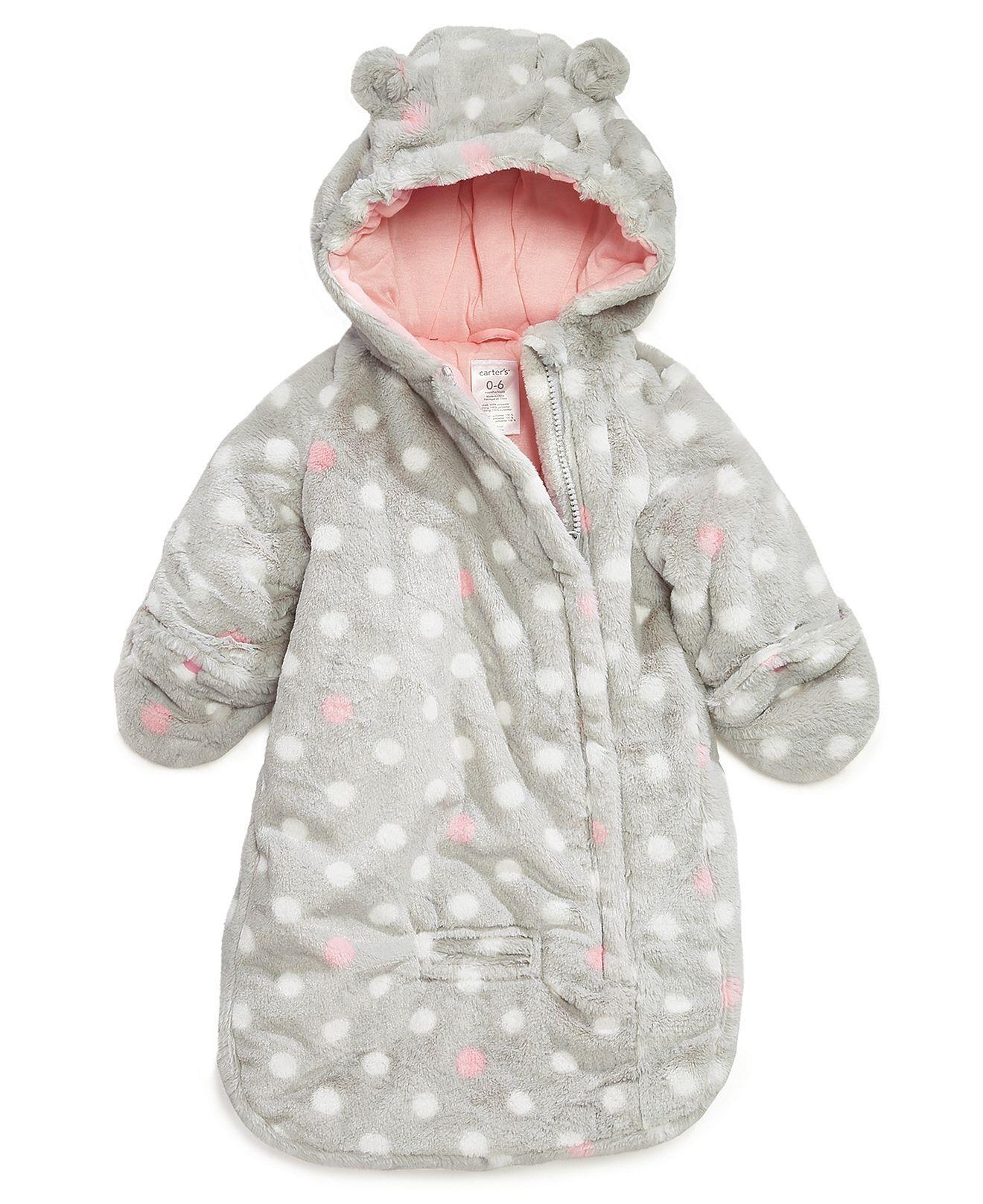 4588fe9bb Carter's Baby Outerwear, Baby Girls Dot-Print Pram Bag - Kids Jackets &  Coats - Macy's