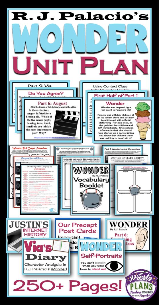 Wonder By R J Palacio Unit Plan Everything You Need To Teach The Novel Presentations Assignments Activities Vocab Teaching Wonder Wonder Novel Book Study