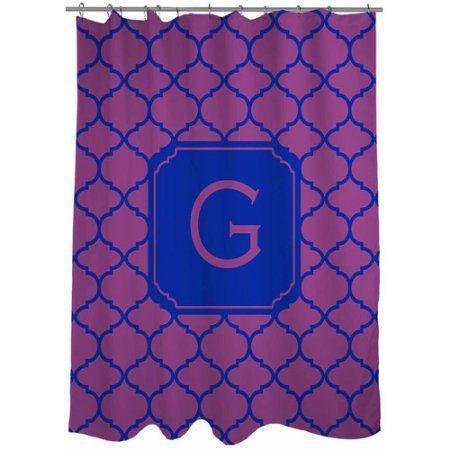 Thumbprintz Moroccan Monogram Shower Curtain, Magenta, Purple