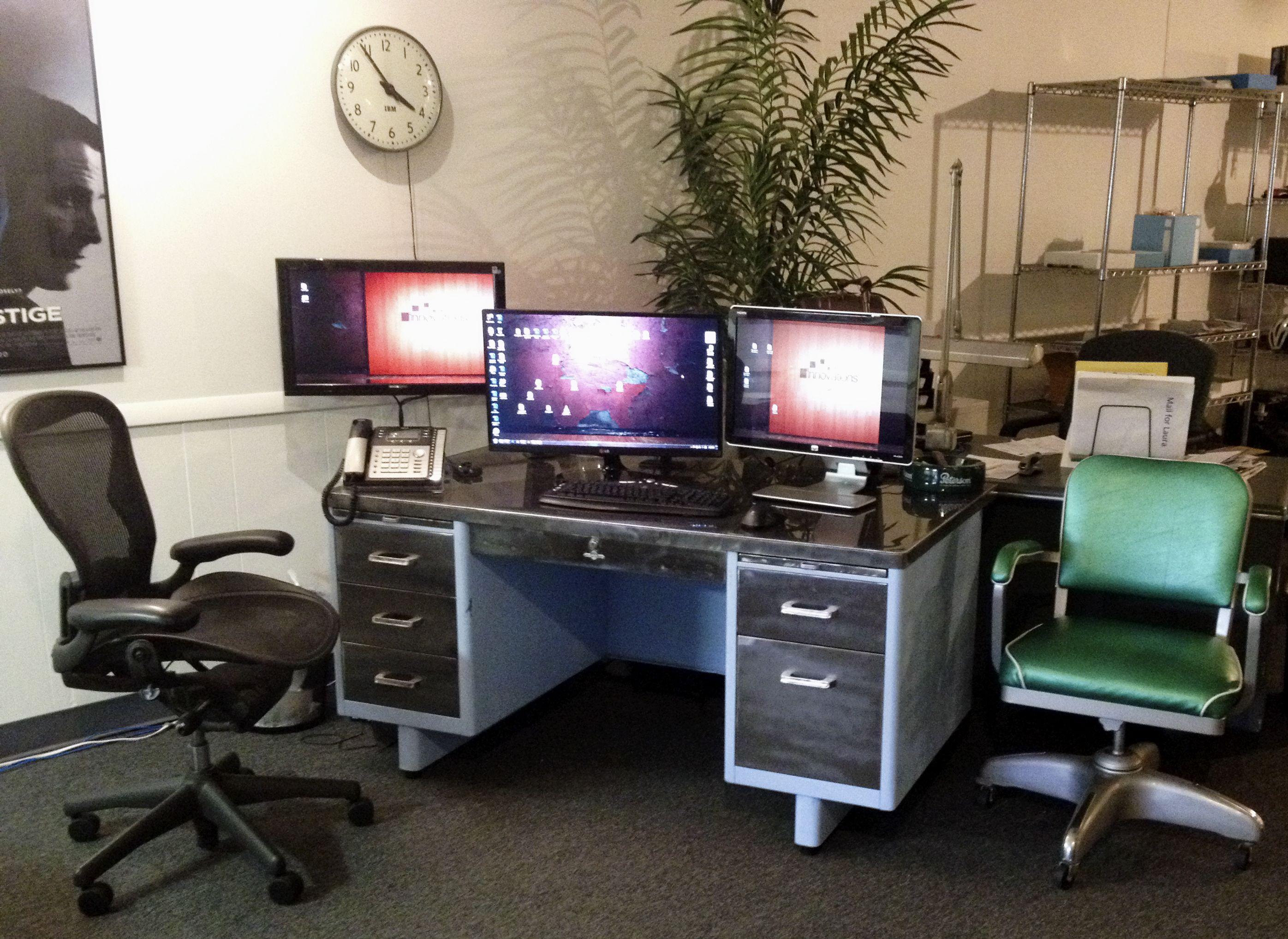Tanker desk restoration and vintage metal office chair