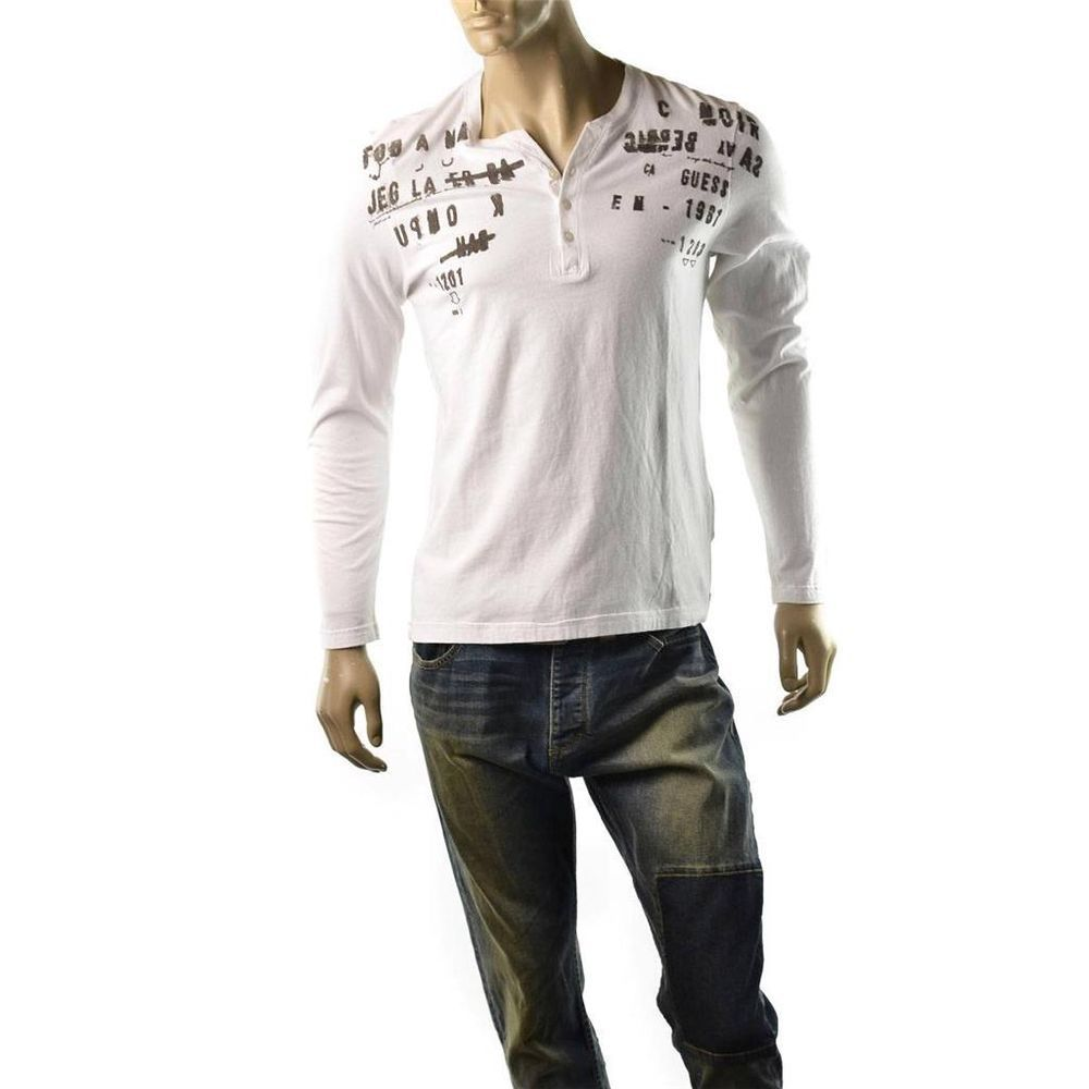 Guess T Shirt Mens Henley Long Sleeve Flocked Graphic Size