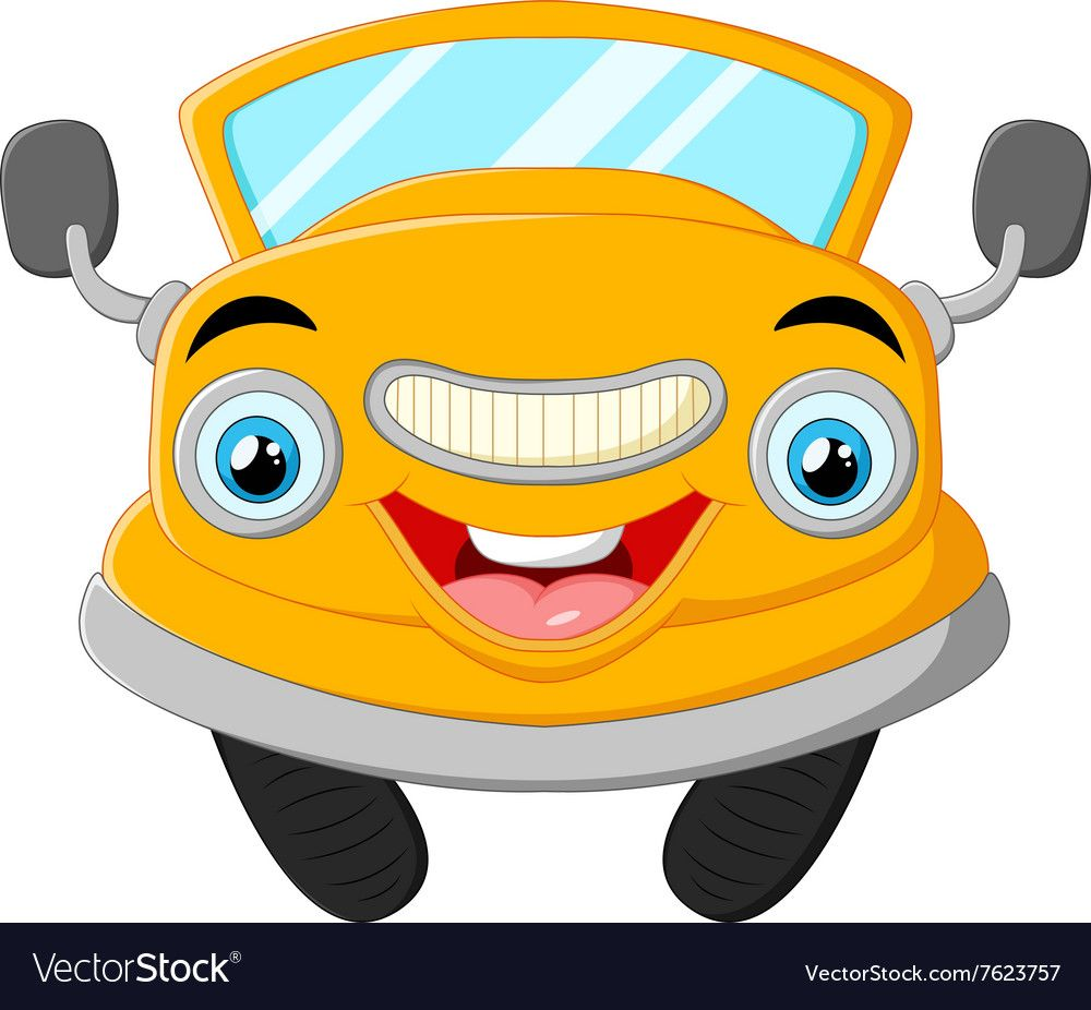 Yellow Funny Cartoon Car Vector Image On Car Cartoon Cartoon