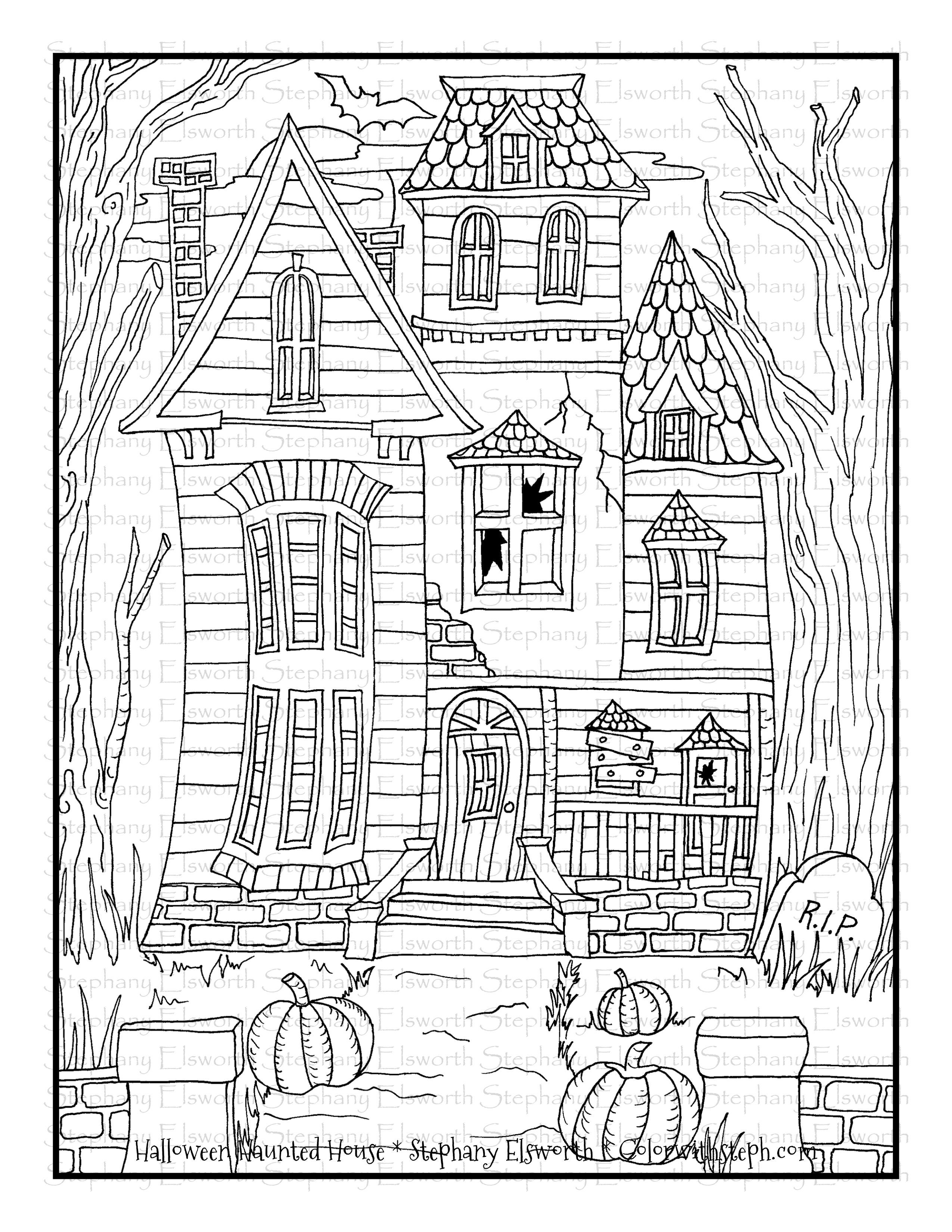 31+ Haunted house coloring page free download HD