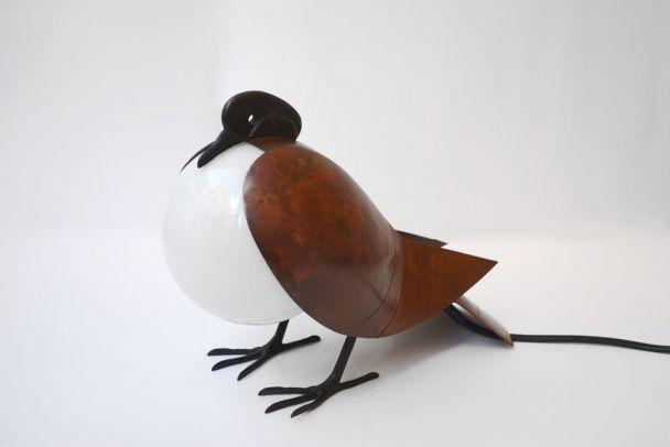 "François-Xavier Lalanne (1927-2008) Lamp""Pigeon"" wht opal glass /patinated bronze + leather  Ref: ""Lalanne"" by C. Abadie, Flammarion, pub. 2008."