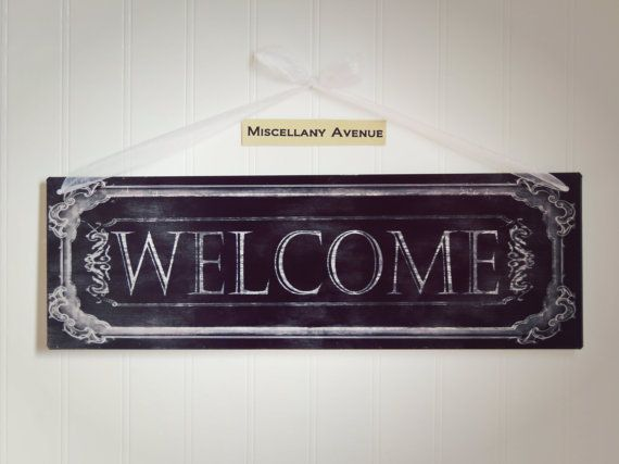 Welcome Sign / Foyer Decor / Entry Way Decor / Black and White / Signage / Metal Sign / Welcome Decor / Chic / Rustic / Traditional on Etsy, $22.13 AUD