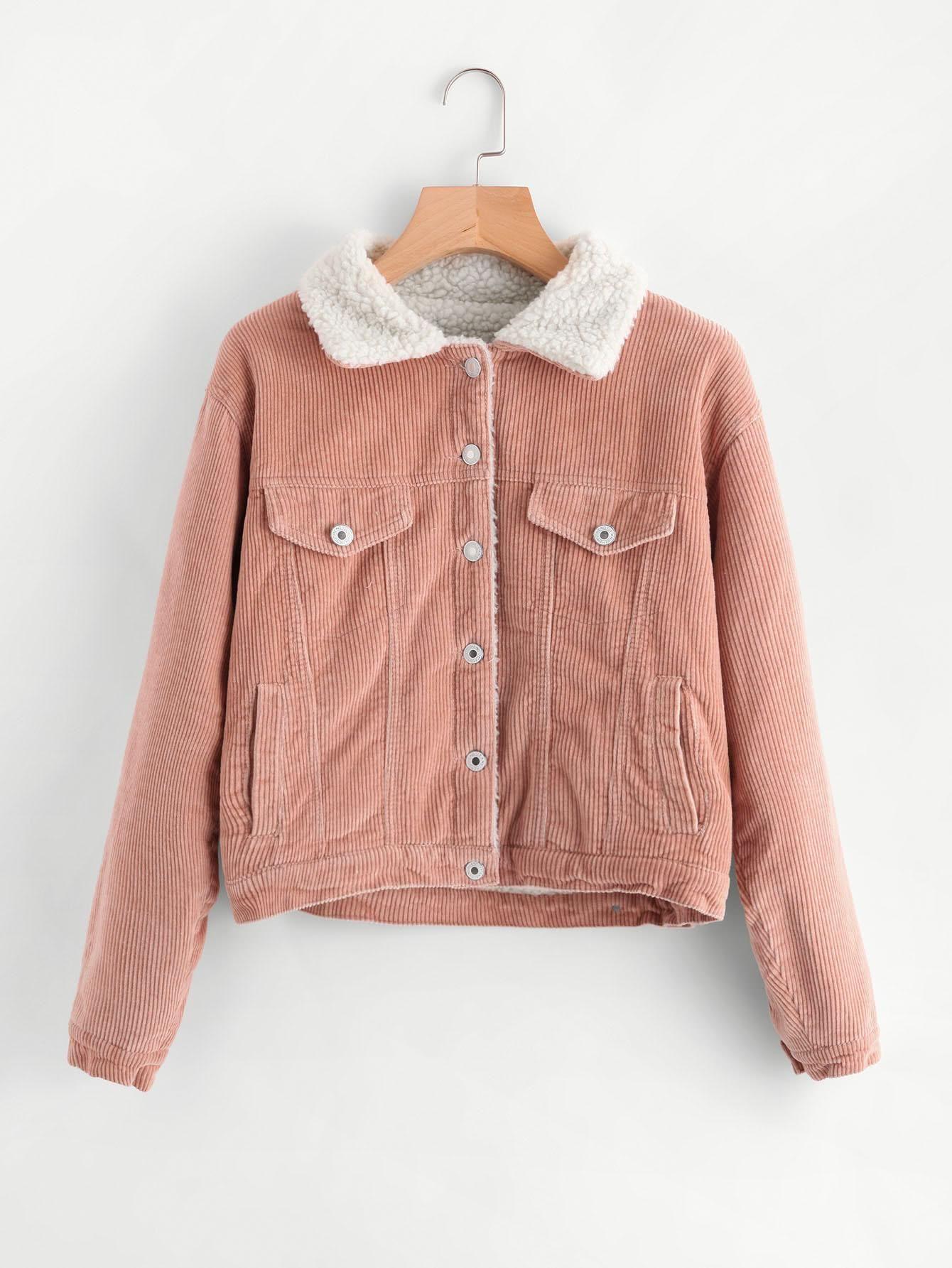 Sherpa faux fleece lined corduroy trucker jacket clothes