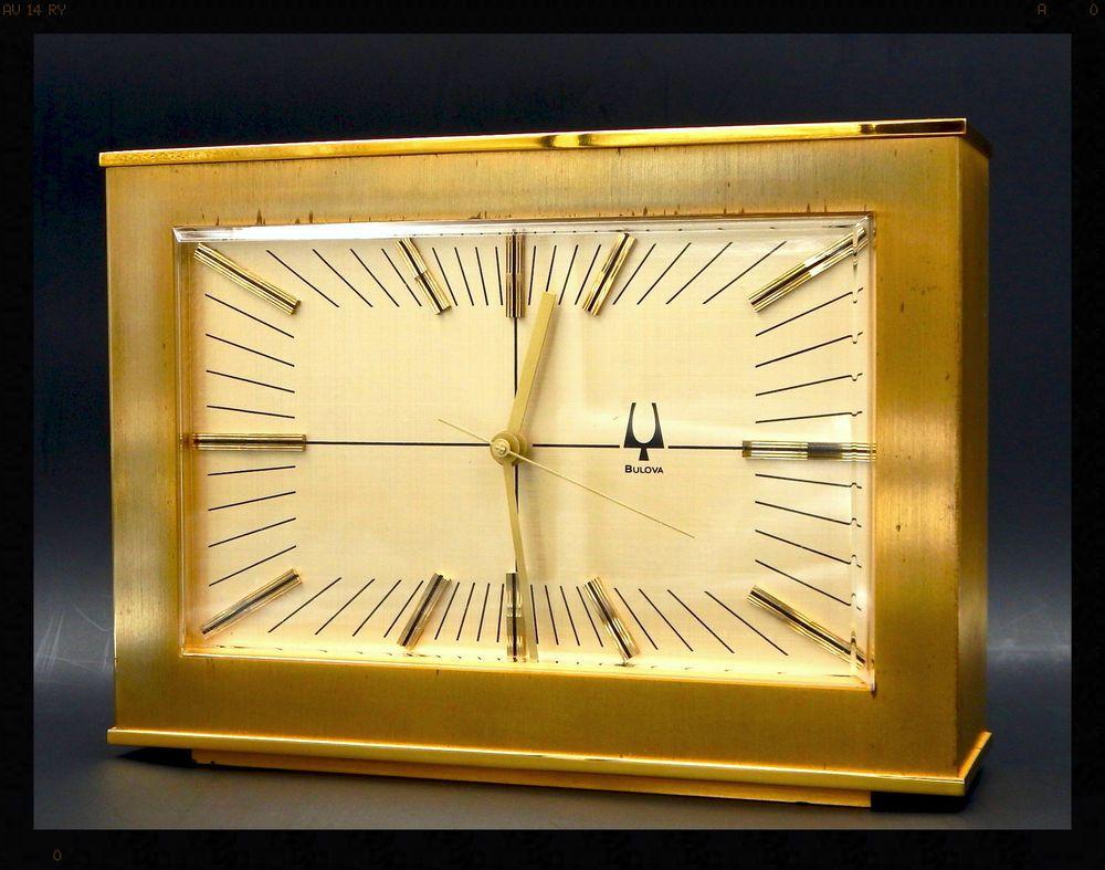 1976 Bulova D2053 4 Accutron Desk Clock 218 Tuning Fork Movement Just Serviced Clock Wall Clock Desk Clock