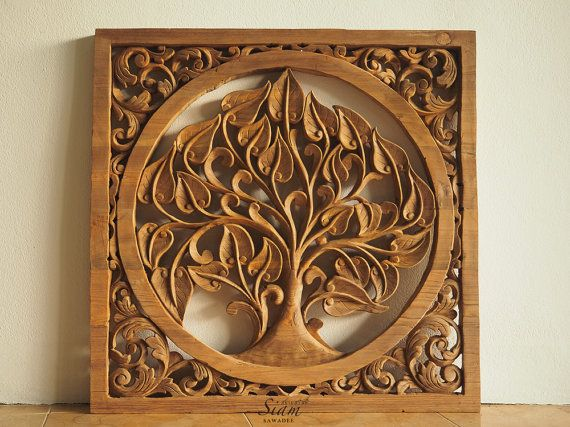 Tree Of Life Hand Carved Wall Art Panel Natural Teak Wood Paneling Sculpture For Hanging From Thailand 3 X3 Ft Extra Thick