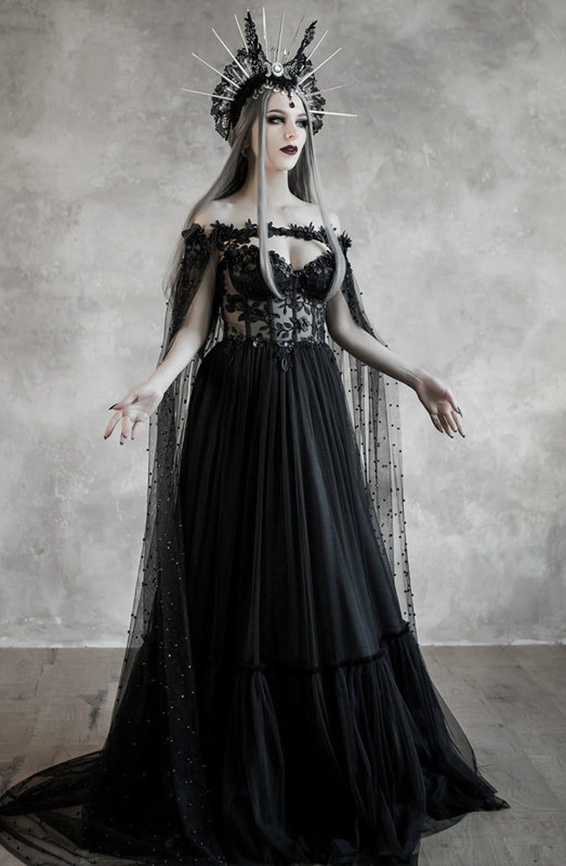 Dark Fairytale Wedding Dress With Cupped Corset Bodice Gothic Black Bridal Dress Halloween Vampire Gown Cape Wiccan Fantasy Wedding Cloak Gothic Wedding Dress Fairy Tale Wedding Dress Black Wedding Gowns [ 1215 x 794 Pixel ]