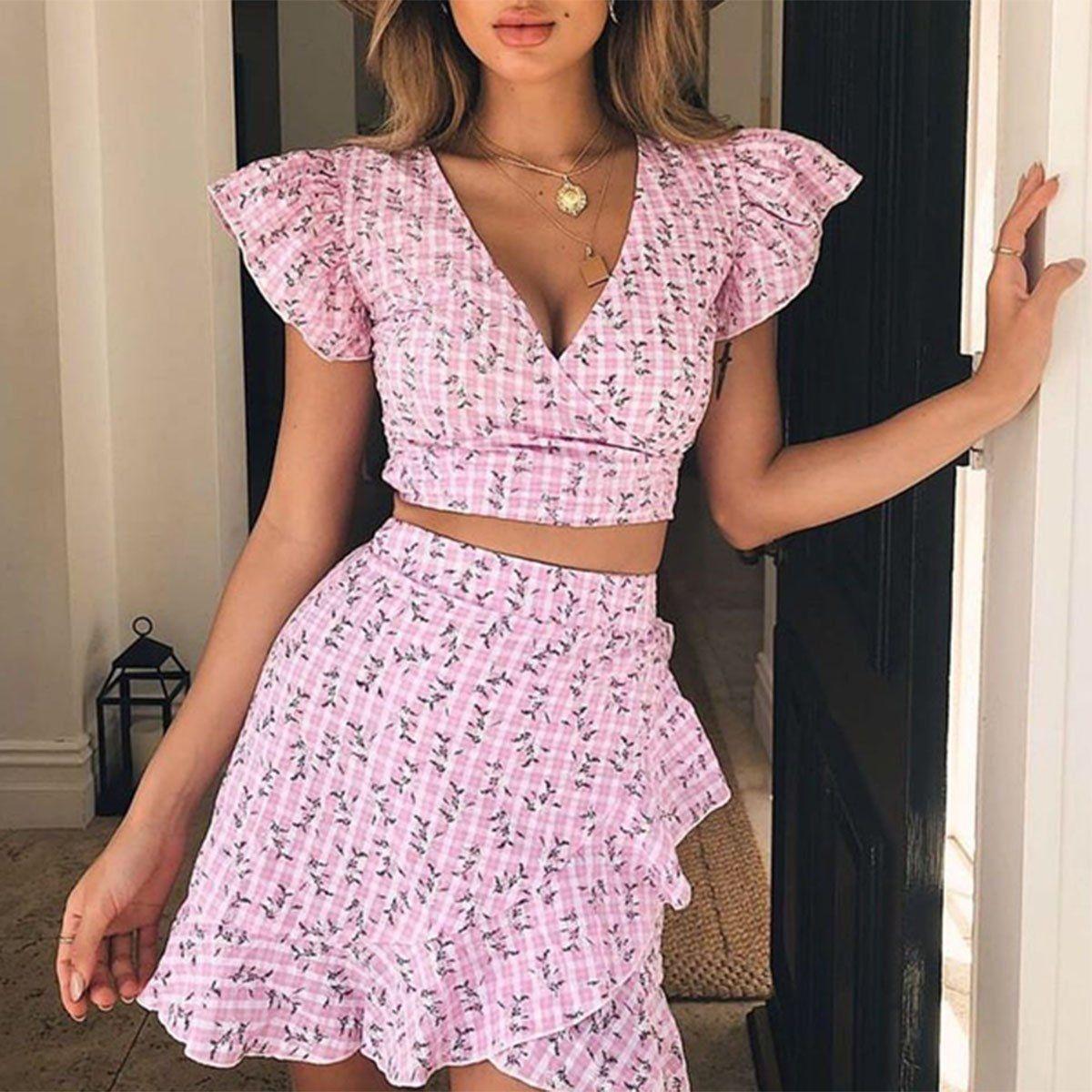 Elegant Women Crop Top Mini Skirt Suit Pink Stripe Bowknot Polyester Outfits UK