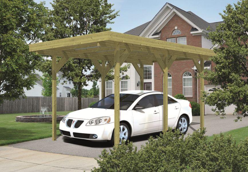 Houten carport om uw auto te beschermen. Op vlak van prijs