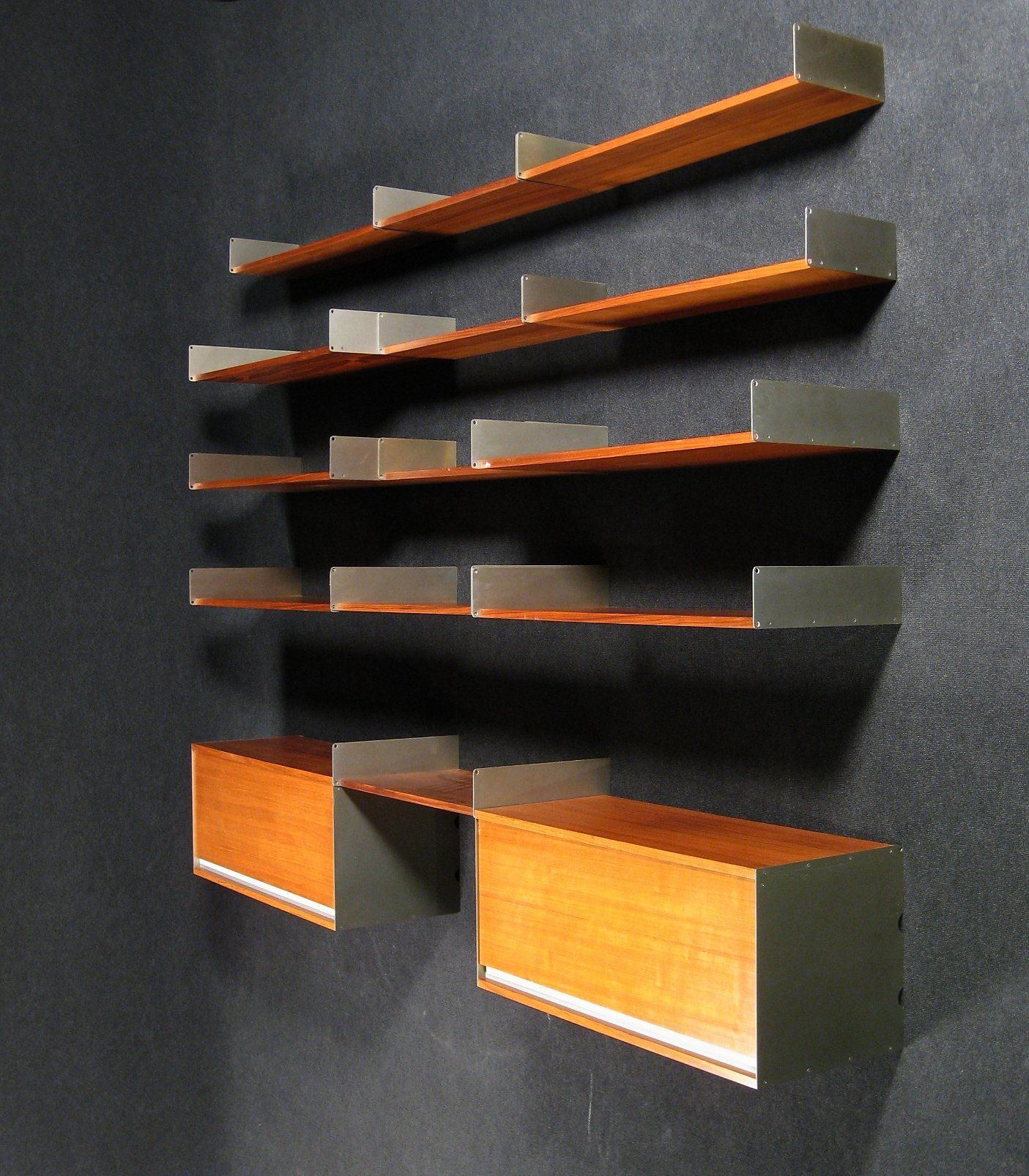 Dieter Rams System 606 Oak And Aluminum Shelving Unit For