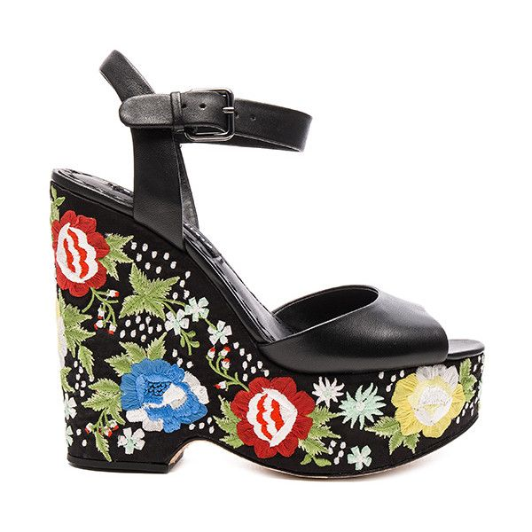Alice + Olivia Siena Too Wedge Shoes (284.425 CLP) via Polyvore featuring shoes, sandals, heels, high heel sandals, high heel platform sandals, high heel platform shoes, high heel shoes y embroidered shoes