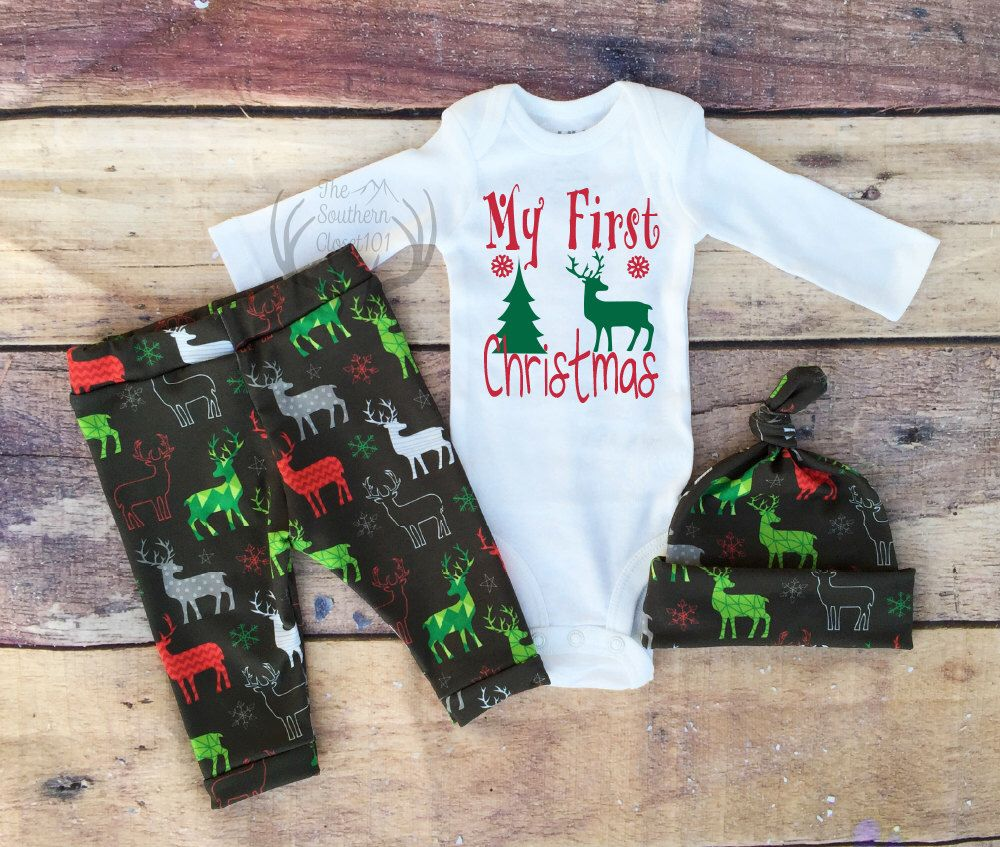 Boys Christmas Outfit My First Christmas Boys Deer Outfit Newborn