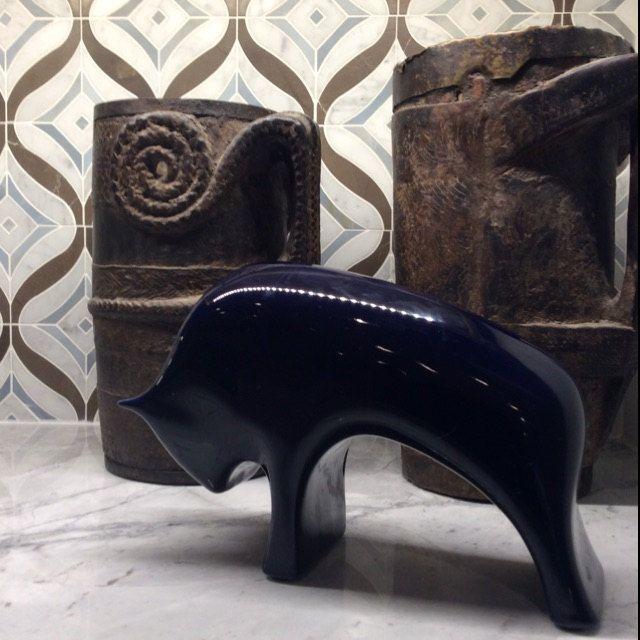 Photo of Modern Cobalt Cobalt Blue Porcelain Bull – 60s Furstenberg