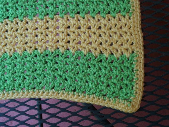 Crochet Baby Blanket Crochet baby Afghan Baby Accessories Green and ...
