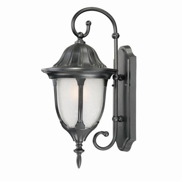 Acclaim Lighting 5061/FR Suffolk 1 Light Outdoor Lantern Wall Sconce with Froste Matte Black Outdoor Lighting Wall Sconces Outdoor Wall Sconces