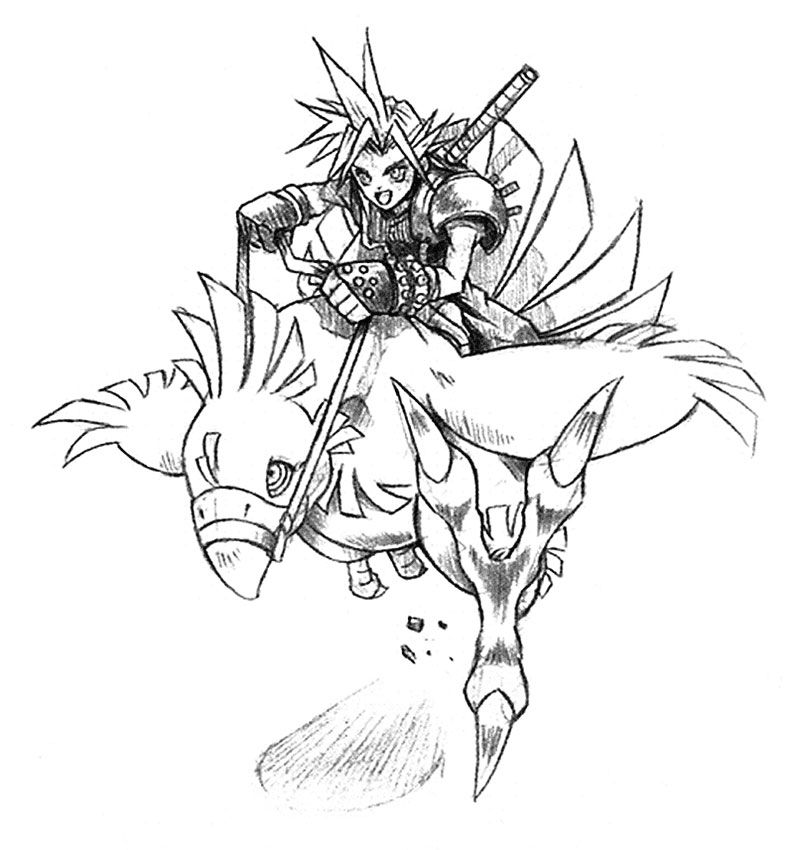 Cloud Riding Chocobo Sketch From Final Fantasy Vii Art Artwork Gaming Videogames Gamer Gamear Final Fantasy Artwork Fantasy Concept Art Final Fantasy Vii