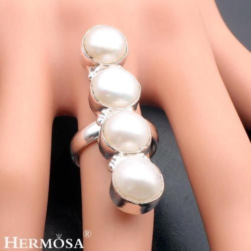 Latest Fashion Natural Biwa Pearl Cute Hot 925 Sterling Silver Ring Sz.7.5 D1678 | eBay