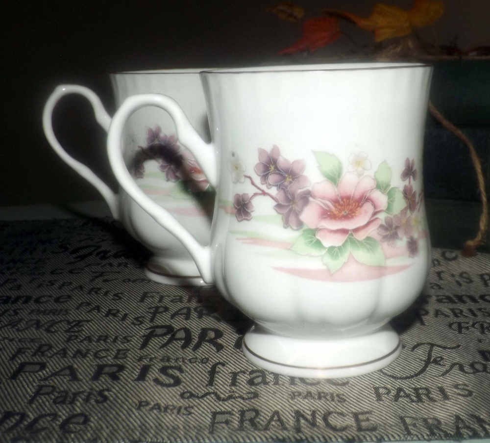 Vintage 1980s Crown Ceramics India Bone China Footed Coffee Etsy Pink And Purple Flowers Pretty Mugs Purple Flowers