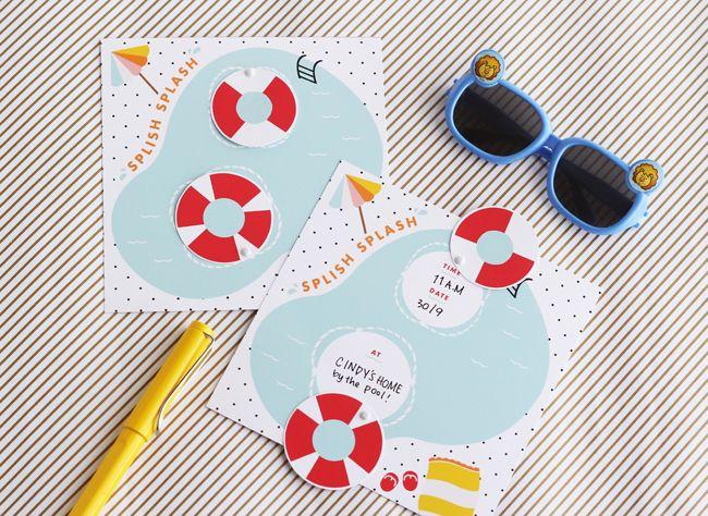 Tarjeta imprimible Splish Splash Printable Pool Party – Homemade Pool Party Invitations