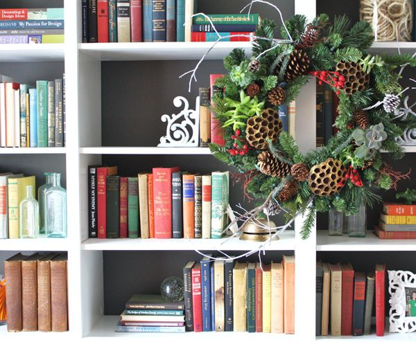 Christmas House Tour Wreath On Bookcases Holiday Decorating Ideas