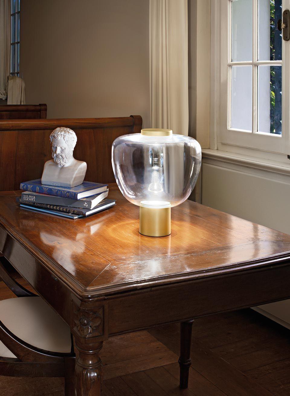 Reflex Lampe A Poser Verre Transparent Et Laiton Satine Vistosi Luminaires En Verre De Murano Ref 20020041 En 2020 Luminaire Lampes De Table Eclairage Led