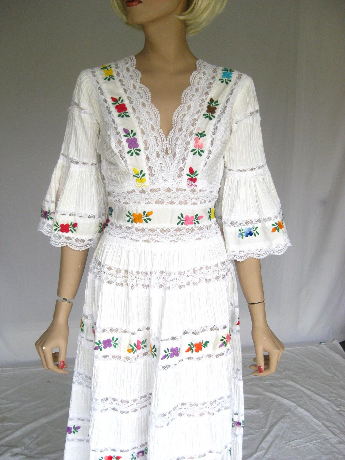 Vintage 1960s Mexican Embroidered Lace Wedding Dress | Embroidered ...