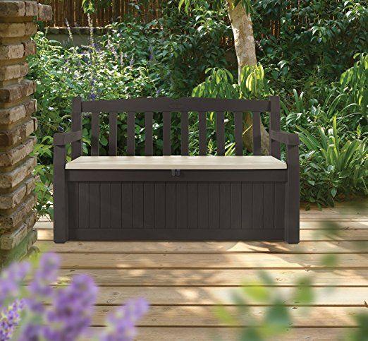 Beautiful Chocolate Brown Patio Garden Deck Patio 70 Gallon Bench Seat Storage Organizer Back Suppor Outdoor Storage Bench Garden Storage Bench Garden Storage