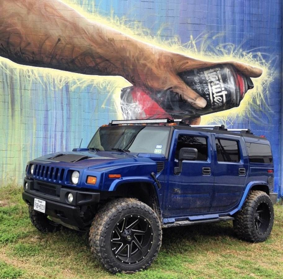 Lifted pacific blue h2 hummer h2 rear view camera fuel