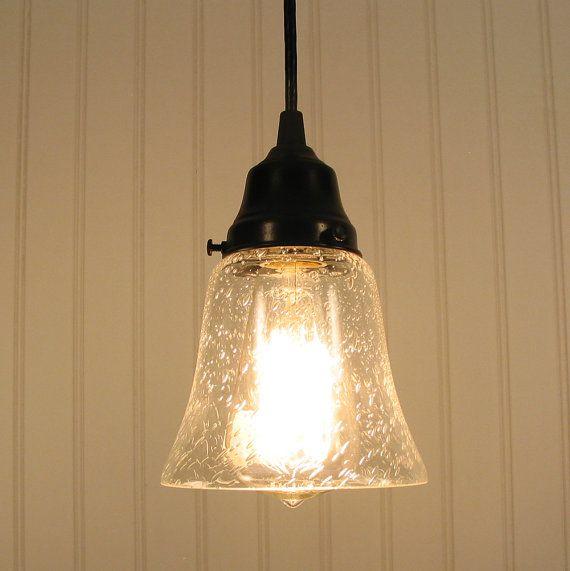 Kelliburg. Clear Seeded Glass PENDANT Light | Night table ...